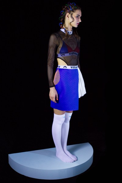 ASYMMETRICAL PLEAT SKIRT BLUE1