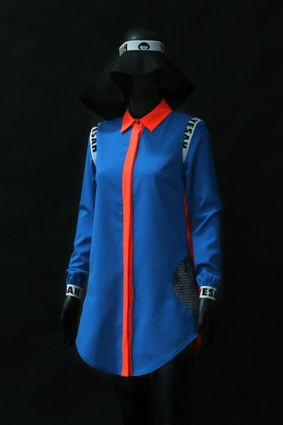 PLEATED SHIRT DRESS BLUE2